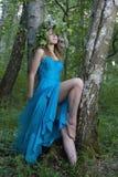 голубая женщина платья Стоковое фото RF