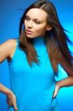 голубая женщина портрета Стоковые Изображения