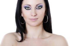 голубая женщина пурпура состава брюнет стоковое фото