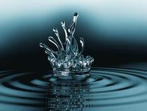 Голубая жидкость брызгает с пульсациями на поверхности Стоковые Изображения