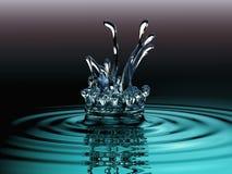 Голубая жидкость брызгают и крона воды на поверхности Стоковое Изображение