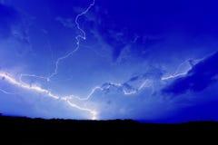 голубая забастовка неба молнии Стоковая Фотография RF