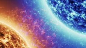 Голубая звезда против красной звезды Красная поверхность солнца с солнечными вспышками против голубого солнца изолированного на ч видеоматериал