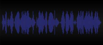 Голубая звуковая дорожка на черной предпосылке Графический тональнозвуковой след бесплатная иллюстрация