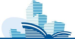 голубая икона здания Стоковые Фотографии RF