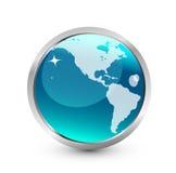 голубая икона земли Стоковые Изображения