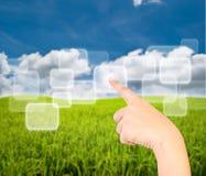 голубая икона руки поля отжимая небо Стоковые Изображения RF