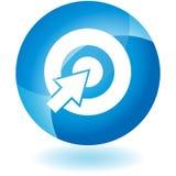 голубая икона bullseye иллюстрация вектора
