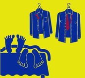 Голубая иллюстрация влюбленности. 2 люд в кровати Стоковое Фото