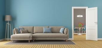 Голубая и коричневая современная живущая комната бесплатная иллюстрация