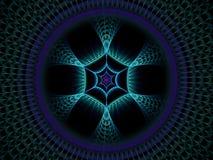 Голубая и пурпурная фракталь пламени сети паука шестиугольника иллюстрация вектора