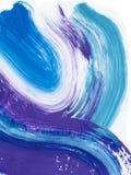 Голубая и фиолетовая творческая абстрактная рука покрасила предпосылку, щетку иллюстрация штока