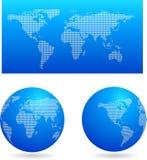 Голубая карта и 2 глобуса Стоковая Фотография RF