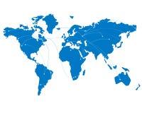 Голубая карта мира с траекториями полета Стоковые Фото