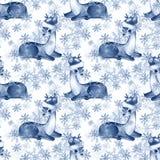 Голубая картина зимы с пыжиками иллюстрация штока