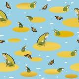 Голубая картина с лягушкой и бабочкой бесплатная иллюстрация