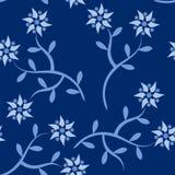 голубая картина цветка безшовная Стоковое Фото