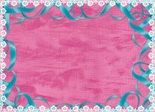 голубая карточка шнурует розовую тесемку Стоковое Изображение RF