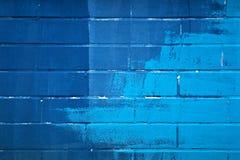 голубая кирпичная стена Стоковая Фотография