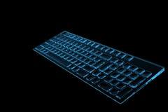 голубая клавиатура 3d представила рентгеновский снимок Стоковая Фотография RF