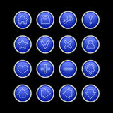 Голубая кнопка установленная для сети иллюстрация вектора