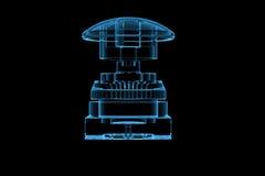 голубая кнопка 3d представила рентгеновский снимок Стоковое фото RF