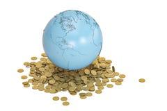 Голубая концепция финансов золотых монеток земли и глобальная illustratio 3D Стоковое Изображение