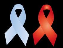 Голубая красная тесемка рака молочной железы Стоковые Изображения