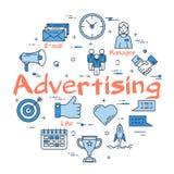 Голубая круглая концепция текста рекламы иллюстрация вектора