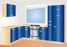 голубая кухня Иллюстрация вектора