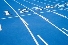 голубая линия гонка начиная след Стоковые Фото