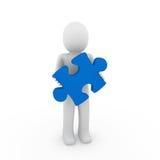 голубая людская головоломка 3d Стоковое Изображение
