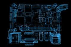 голубая материнская плата компьютера 3d представила рентгеновский снимок Стоковые Изображения