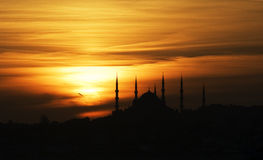 голубая мечеть над заходом солнца Стоковые Фотографии RF