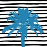 Голубая пальма и нарисованные рукой черно-белые нашивки иллюстрация штока