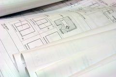 голубая печать планов здания стоковые изображения