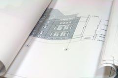голубая печать планов здания стоковые фото