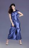 голубая повелительница платья брюнет представляя детенышей Стоковое Фото
