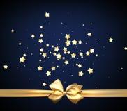 Голубая праздничная предпосылка с золотым смычком иллюстрация вектора