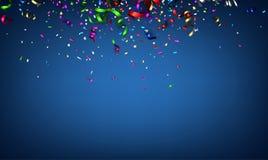 Голубая праздничная предпосылка с красочным серпентином бесплатная иллюстрация
