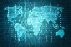 Голубая предпосылка абстрактной технологии цифров с картой мира иллюстрация штока