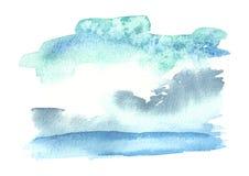 Голубая предпосылка акварели для вашего дизайна Текстура нарисованная рукой Стоковое фото RF