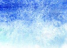 Голубая предпосылка акварели для вашего дизайна Текстура нарисованная рукой Стоковые Фото