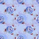 Голубая предпосылка и голубые розы Стоковое Фото