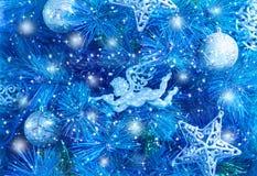 Голубая предпосылка рождественской елки Стоковые Фотографии RF