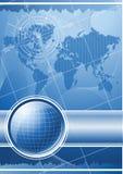 Голубая предпосылка с глобусом и лимбом картушки компаса. Стоковые Изображения RF