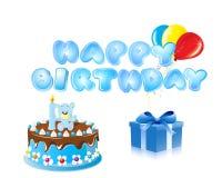 Голубая предпосылка текста с днем рождения Стоковые Изображения RF