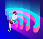 Голубая предпосылка wifi с женщиной с компьтер-книжкой иллюстрация штока