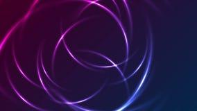 Голубая пурпурная накаляя анимация неоновых кругов видео- иллюстрация вектора