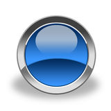 голубая пустая лоснистая икона Стоковые Фотографии RF
